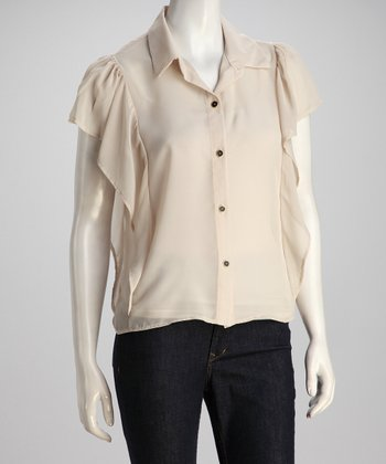 Beige Angel-Sleeve Button-Up Top