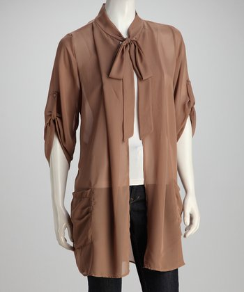 Coffee Tie-Front Duster