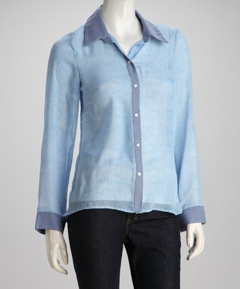 Light Blue Button-Up Top