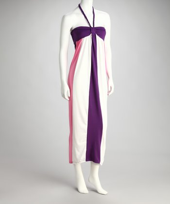 Purple & Pink Stripe Halter Maxi Dress