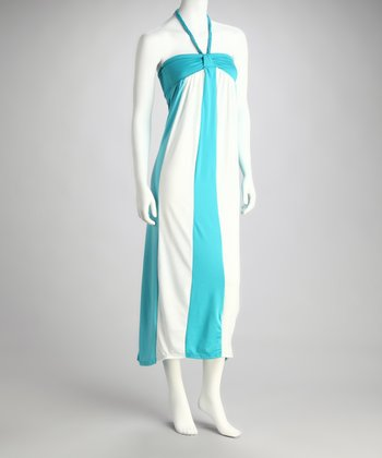 Turquoise & Off-White Stripe Halter Maxi Dress