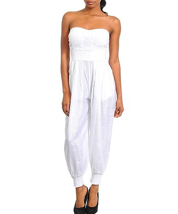 White Pleated Strapless Jumpsuit