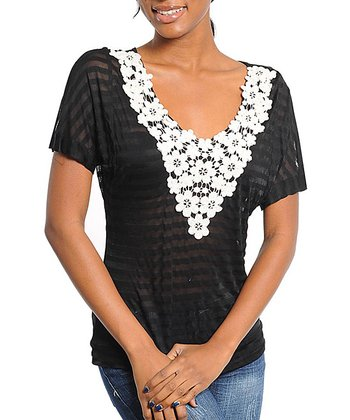 Black Sheer Stripe Lace Collar Top - Women