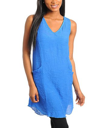 Blue Sleeveless V-Neck Dress