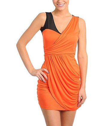 Orange Twist-Front Dress
