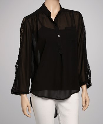 Black Chiffon Lace Top - Women