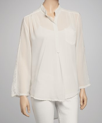 White Chiffon Lace Top - Women