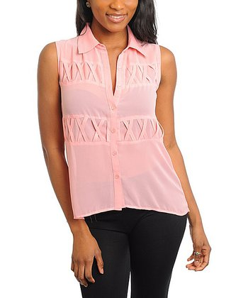 Blush Sheer Lace-Back Button-Up - Women