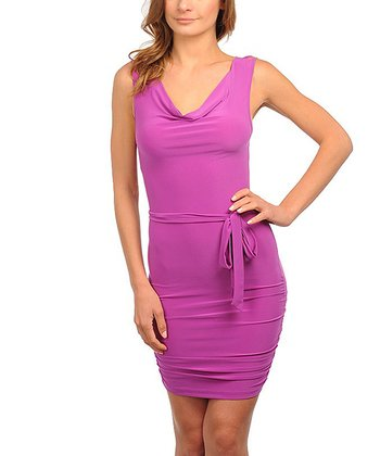 Purple Drape Sheath Dress