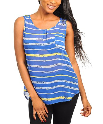 Royal Blue & Yellow Stripe Sheer Sleeveless Top