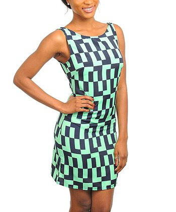 Black & Green Modern Geometric Sleeveless Dress - Women