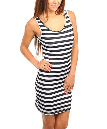 Black & White Clean Stripe Sleeveless Dress