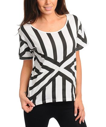 Black & White Stripe Geometric Short-Sleeve Top
