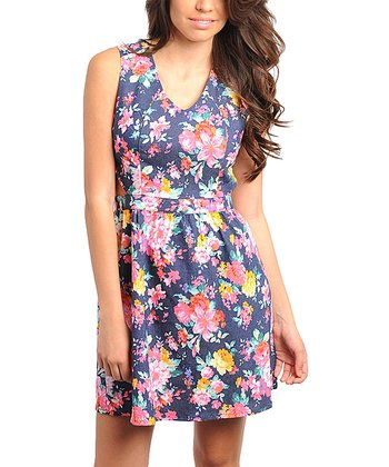 Navy & Pink Floral V-Neck Sleeveless Dress