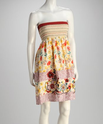 Yellow Strapless Floral Dress