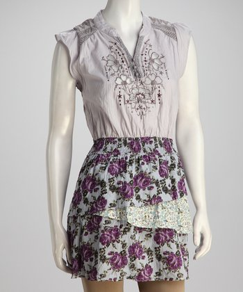Purple Embroidered Floral Dress