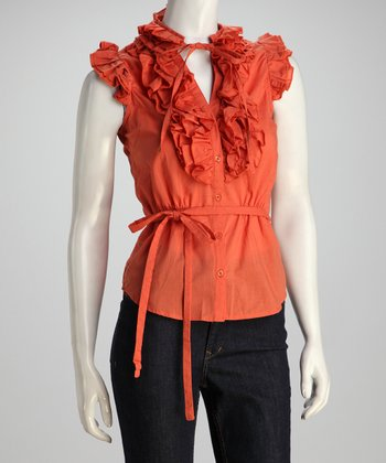 Orange Tie-Waist Ruffle Top