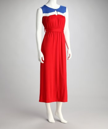 Royal Blue & Red Waist-Tie Maxi Dress - Women