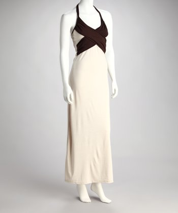 Beige & Coffee Crisscross Halter Maxi Dress