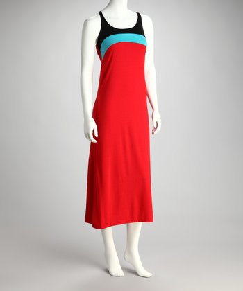 Red & Black Color Block Racerback Maxi Dress