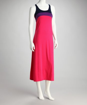 Fuchsia & Purple Color Block Racerback Maxi Dress