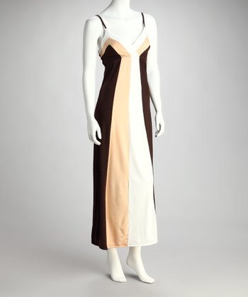 Coffee & Peach Color Block Surplice Maxi Dress - Women