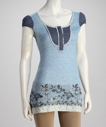 Blue Floral Scoop-Neck Tunic