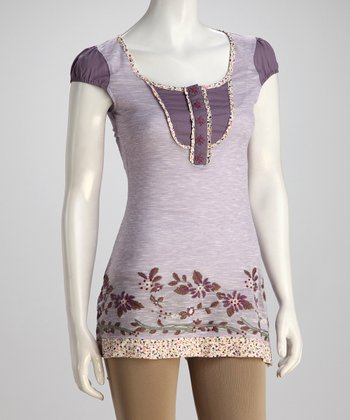 Purple V-Neck Tunic