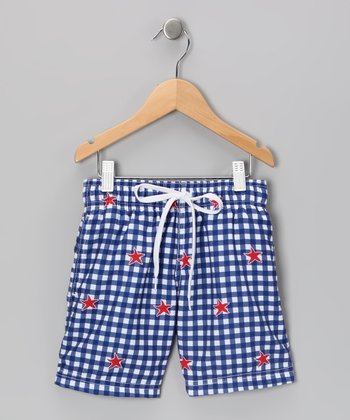 White & Blue Checkerboard Star Swim Trunks - Boys