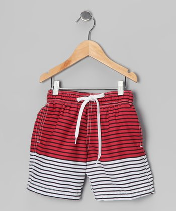 Red & White Stripe Swim Trunks - Toddler & Boys