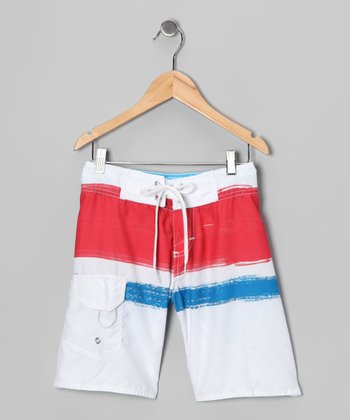 White & Red Swim Trunks - Toddler & Boys