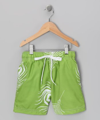 Green & White Leaf Swim Trunks - Toddler & Boys