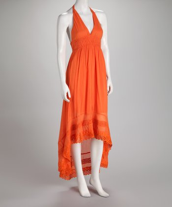 Orange Hi-Low Lace Dress