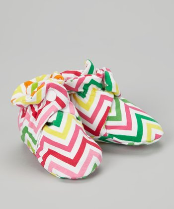 Pink & Green Zigzag Booties