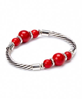 Red Turquoise & Silver Bangle