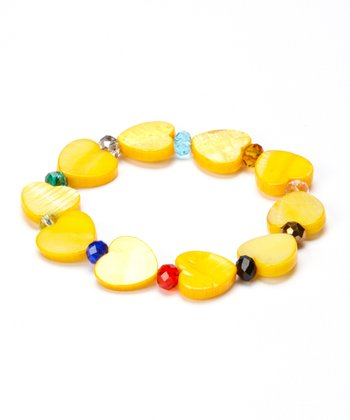 Yellow Mother Of Pearl Heart Stretch Bracelet