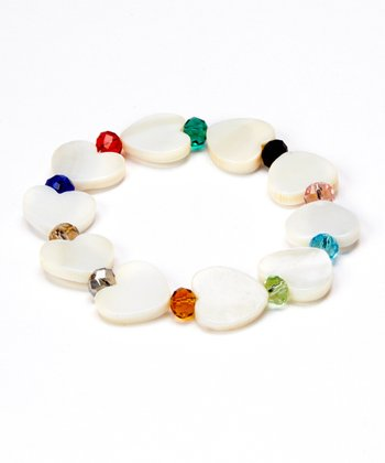 White Mother Of Pearl Heart Stretch Bracelet