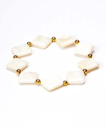 Square Mother Of Pearl Stretch Bracelet