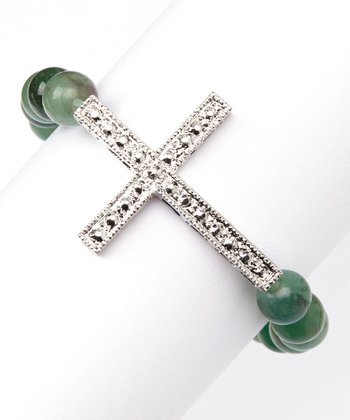 Aventurine Cross Stretch Bracelet