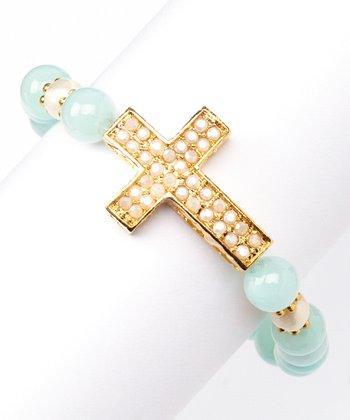 Jade & Gold Cross Stretch Bracelet