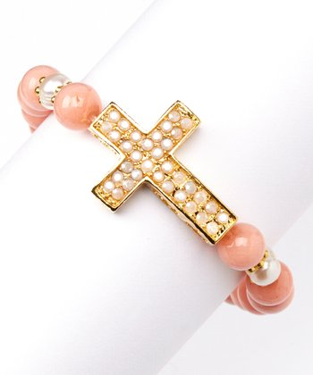 Pink Jade & Gold Cross Stretch Bracelet