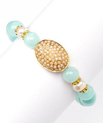 Jade & Gold Oval Stretch Bracelet