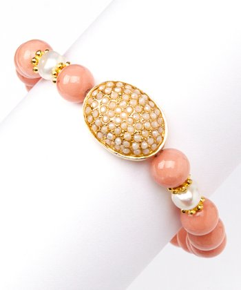 Pink Jade & Gold Oval Stretch Bracelet