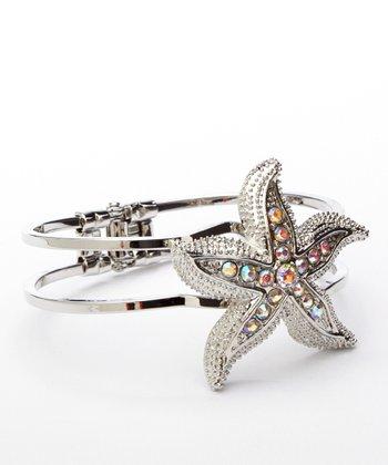 Silver & Crystal Starfish Hinge Cuff