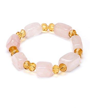 Rose Quartz & Yellow Stretch Bracelet