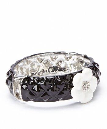 Black Floral Rhinestone Hinge Bangle