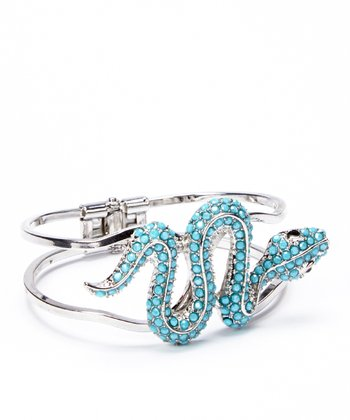 Silver & Turquoise Snake Hinge Cuff