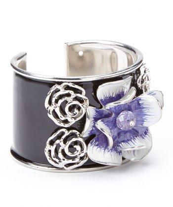 Violet & White Floral Cuff