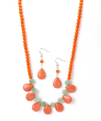 Red Turquoise Bib Necklace & Drop Earrings