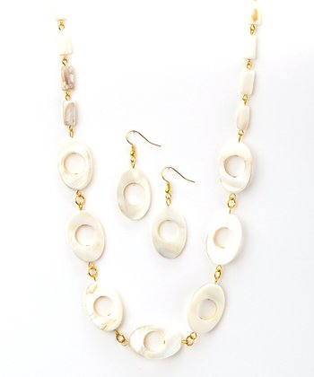 Mother Of Pearl Oval Necklace & Drop Earrings